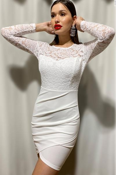 Cream Lace Ruched Midi Dress